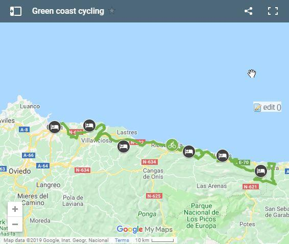 Map cycling Asturias coast