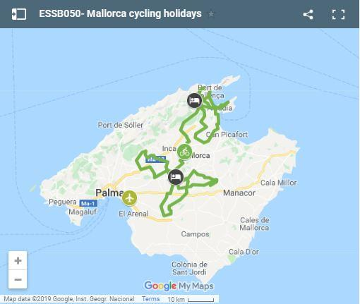 Map cycling routes north of Mallorca