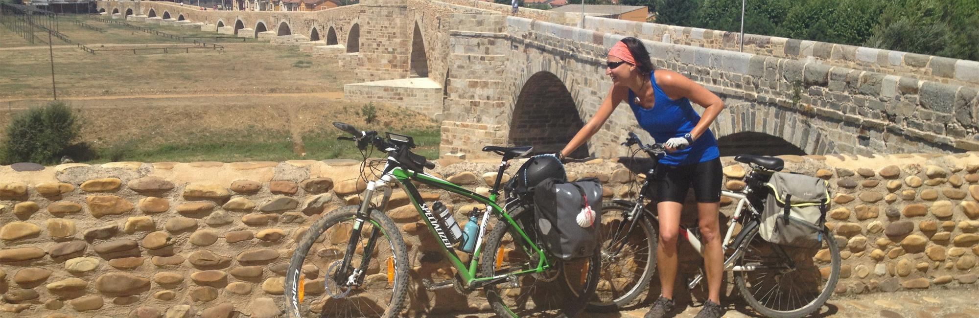 Pilgrim cycling in Way of Saint James