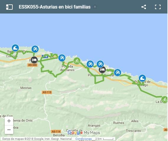Map cycling routes in Asturias for kids
