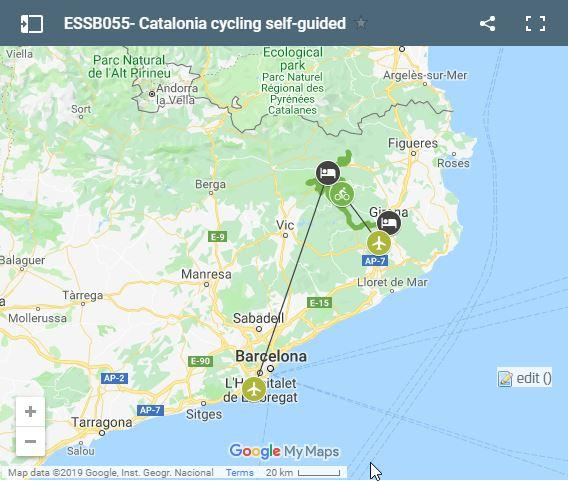 Map cycling routes in Catalonia