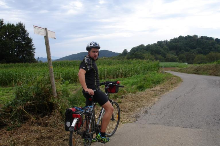 Cyclist in La Garrotxa Natural Park