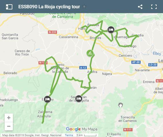 Map cycling routes in La Rioja