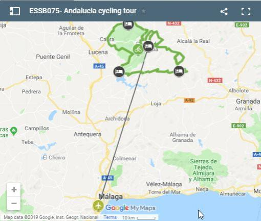 Map of cycling routes in Andalusia