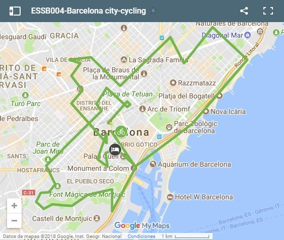 Map cycling routes in Barcelona