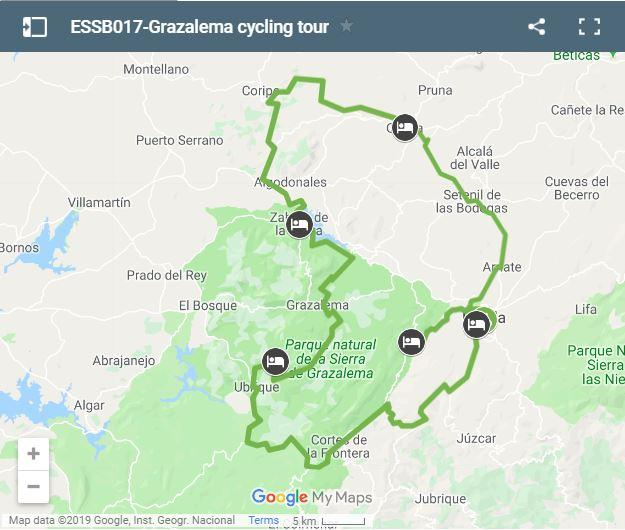 Map Grazalema cycling routes