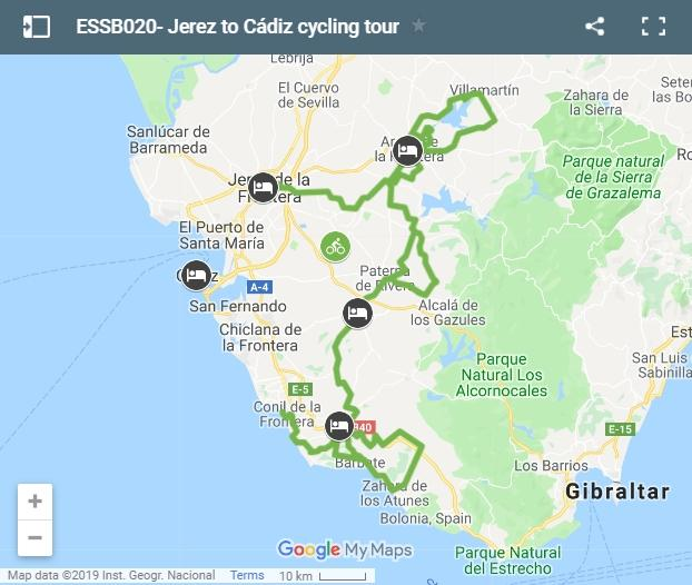 Map cycling route from Jerez to Cádiz