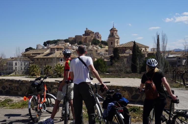 Cyclists arriving at Caravaca